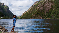 Nikita Gokhale in Drangsdalen (Gjesdal.org) Tags: rock natural beautifullandscape nature water glamour scandinavia beauty lake background pose drangsdalen norway attractive woman indian attraction waterfall river nikitagokhale scenic wellness moodysky environment terrain sigmaart scandinavian green stone current portrait asian nikon pretty panoramic outdoors northern girl nordic outdoor norwaynature bollywood makeup clouds landscape famous summer ravine scenery beautiful norwegian forest hiking sigma50mmf14dghsmart sky model female europe wilderness mountain