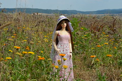 Summer walk with Karen (1) (JL_the_Lion) Tags: summerwalkwithkaren bjd 13 sd eid yur iplehouse my karen outdoor summer flowers walk love sun dress dreamdolldress hat miradolls etsy