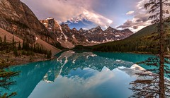 Lake Moraine Tranquility (Cole Chase Photography) Tags: reflections morainelake sunset turquoise canada banff banffnationalpark lakelouisevillage canadianrockies valleyofthetenpeaks alberta summer