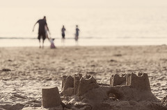 Castles (Bruus UK) Tags: trevone padstow sandcastle castle sand beach coast marine cornwall beachlife beachfamily paddle ocean atlantic dof blurry summer summerfun livingcornwall outside beachpeople