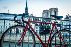 Scott's bike securely fastened with Notre Dame in the background behind the Seine river in Paris.