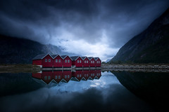 Night reflections (andreassofus) Tags: dock boathouse house cabins mirror reflections sky clouds night evening sunndalsøra norway nature landscape mountains beautiful amazing summer summertime light magiclight travel travelphotography fineart outdoor nopeople canon longexposure leefilter lee ndfilter