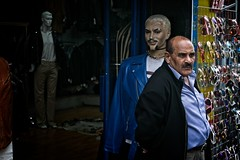 Three Stages of Man (garryknight) Tags: sony a6000 on1photoraw2018 london creativecommons ccby30 man mannequin mannekin shop shopkeeper moustache