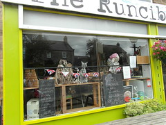 The Runcible Spoon (Glass Horse 2017) Tags: skeletal nyorks hinderwell scarecrowfestival window windowwednesday feathers bunting owl pussycat sheep scarecrow runciblespoon cafe