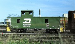 Burlington Northern caboose at Duluth in 1978 (Tangled Bank) Tags: old classic heritage vintage history historical fallen flag train railroad railway equipment rolling stock burlington northern caboose duluth 1978