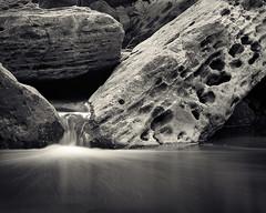 Trickle (Joe Iannandrea) Tags: blackandwhite longexposure ishootfilm filmphotography nature landscape water mamiyarb67pros 250mmf45sekor fujiacros pmkpyro waterfall rocks 20milecreek lincolnontario canada