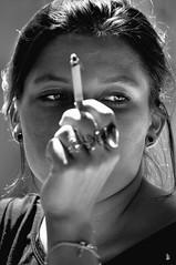 _DSC0354 -Portrait (Le To) Tags: nikond5000 noiretblanc nerosubianco bw monochrome cigarette regard femme personnes main