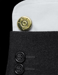 Dressed to Kill (WibbleFishBanana) Tags: trinkets calibre round bullet 50 cal 127mm browning brass cuff link shirt jacket kill dressed suit macromondays wool pinstripe cotton sleeve button