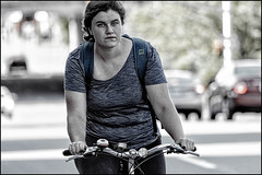 Sunday Morning Bank Street Rider (Dan Dewan) Tags: 2018 canonef70200mmf14lisusm bicycle bankstreet street people person lady colour summer ottawa sunday woman ontario canada cyclist july canon