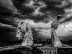 The Kelpies - Scotland (Patrik S.) Tags: scotland uk united kingdom kelpies falkirk helix ngc explore horses bw black white blackandwhite thunder storm thunderstorm clouds dark drama canal water head sky impressive landscape giant