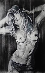 EXPLICIT (Sketchbook0918) Tags: pastel drawing nude explicit female figure portrait charcoal hair jeans abs
