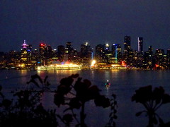 Vancouver by night (peggyhr) Tags: peggyhr city skyline harbour lights flowers dsc00208a vancouver bc canada seabus silhouettes balcony thegalaxy thegalaxystars thegalaxylevel2 halloffamegallery