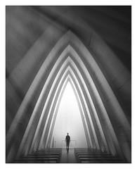 Portal III (Vesa Pihanurmi) Tags: architecture interior chapel artchapel arc turku finland figure character metaphysical portal conceptual monochrome blackandwhite sanaksenaho taidekappeli