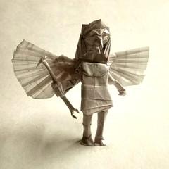 ORIGAMI- HORUS !! (Neelesh K) Tags: origami horus falcon head man deity egypt gods goddess neeleshk tracing paper folding boxpleating 32 grids