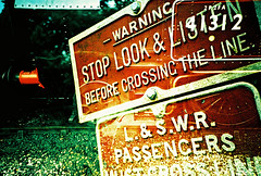 Lomo – stop, look and listen (lomomowlem) Tags: 35mm analogue crossprocess colourstreambrighton doubleexposure expiredfilm kodakelitechrome lomo lomography lca multipleexposure mxbutton watercressline warning sign xpro xprocess steamtrain railway