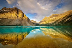 Bow Lake @ Sunrise  (Explore #1) (Anne Strickland) Tags: icefieldsparkway reflections bowlake rockymountains canadianrockies canada albertacanada