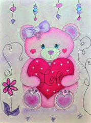 DSC_0022-BearofCompassionLifeBook-Main (Just4Crafters) Tags: heart pink purple fuschia love valentine bear lifebook compassion watercolor painting mixed media pen paint kids children sweet whimsical