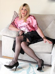 Naughty girl (bethany_labelle) Tags: stockings suspenders nylons satin skirt silky blouse slippery smooth stilettos trans cross dress