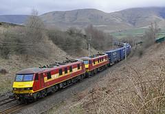 Lowgill, Cumbria (DieselDude321) Tags: 90028 90037 class 90 db dbs schenker cargo ews 4m25 0606 mossend euroterminal daventry lowgill low gill cumbria