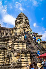 Angkor Wat Cambodia -47 (Yasu Torigoe) Tags: publicstairwayisbuilttoclimbtothecentertowersofangkor krongsiemreap siemreapprovince cambodia kh publicstairwayisbuilttoclimbtothecentertowersofangkorwatatthenortheasttower