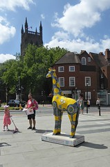 Giraffes 5n Worcester. (jenichesney57) Tags: cathedra3 worcester sky blue clouds giraffe art decorated street people shops bui3dings panasoniclumix
