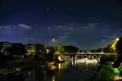 Red moon (ioriogiovanni10) Tags: photographer seguimi redmoon red lunarossa nikond810 luci ponte bridge river fiume goodlight fotografo nikon città luna eclissi 27luglio cielo moon clouds nuit lungotevere city rome