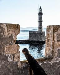 Chania Harbour (Cirrusgazer) Tags: chania crete greece mediterranean navalmuseum venetianharbour barrelcannon defence fort harbour lighthouse old sea stone