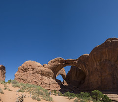 Arches National Park - Double Arch (Clare Havill) Tags: red nikon nikond610 d610 usa road trip nikkor 240700 mm f28 landscape outdoor sky blue rock rocks national park nikonafsnnikkor2470mmf28gedlens afsn 2470mm g ed lens natural lights wwwclarehavillcom clare havill photography clarehavillphotography