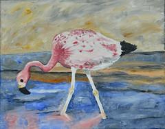 Mom's Flamingo (BKHagar *Kim*) Tags: bkhagar art artwork artday painting paint acrylic flamingo bird pink feeding eating water skinny legs moms bjhardage