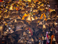 Metal sacrificial bells at a Temple in Kathmandu, Nepal (CamelKW) Tags: abc annapurnabasecamptrek annapurnaregiontrek kathmandu mbc machapuchare machapucharebasecamp nepal pokhara