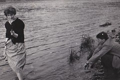 Diana being Dempster at the Rhine Germany 1953 (Bury Gardener) Tags: bw blackandwhite snaps scans germany rhine 1950s 1953 europe people folks vintage oldies old