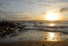 I can see clearly now the rain is gone.... (Late Breaks Devon) Tags: croyde bay beach rock rocks rockpools couple summer sunset sun sky cloud sea tide water waves