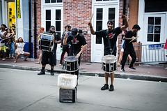 They got the rhythm, she's got the moves (Rabican7) Tags: nola neworleans louisiana city bourbonstreet streetphotography musicians streetperformers percussion music rhythm moves dancer people party drums shesgotthemoves downtown traveling fundraising urban dancing photography