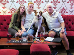 Bailey will pose with anyone... (deltrems) Tags: pub bar inn tavern hotel hostelry house restaurant albertsalemicrobar albert micro blackpool lancashire fylde coast people men woman dog pet welsh border collie baley