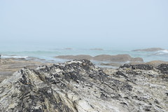 Sea coming with the mist. (Working hard for high quality.) Tags: fog mist newquay fistral cloud blue grey cliff stone formation rockpool ocean weather