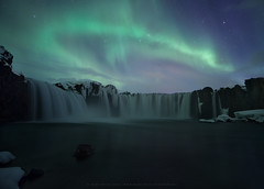 God's Fall at Night (markster70) Tags: godafoss aurora iceland waterfall night northernlights illuminated landscape waterscape drama