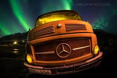 Mercedes (el_farero) Tags: nightshot lightpainting auroraborealis northern lights mercedes truck farero iceland sky stars pacofarero