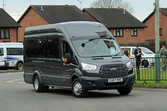 Ian's, Penygraig CU67 RHE, Ford Transit outside Cheltenham racecourse (majorcatransport) Tags: welshbuses cheltenham fordtransit ford ianspenygraig