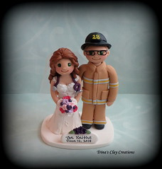 Nurse and Firefighter Wedding Cake Topper (Trina's Clay Creations) Tags: art sculpture clayfigure weddingcaketopper wedding whimsical weddingcake weddingdecor caketopper customcaketopper claycaketopper trinasclaycreations trinaprenzi topper brideandgroom animal pet polymerclay personalized groomscake nurse figurine fireman firefighter bunkergear