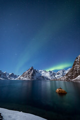 Magical nights (Mika Laitinen) Tags: canon5dmarkiv europe hamnøy lofoten norway norwegiansea scandinavia auroraborealis blue calm cliff cold color landscape longexposure mountain nature night northernlights ocean outdoors rock sea serene shore sky stars water winter nordland no