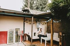 Andy and his cat (Yuliya Bahr) Tags: wedding groom gettingready morning coffee cat pets men man style lifestyle garden hochzeit bräutigam männerstil katze blackcat