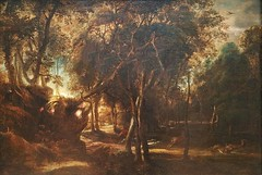 Painting:Peter Paul Rubens (1577-1640 Antwerp),A Forest at Dawn with a Deer Hunt (1635),oil on wood (marcos2077) Tags: metropolitanmuseumofart