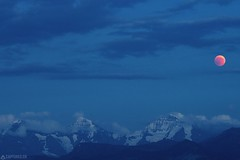 Eiger Mönch Jungfrau and the moon eclipse - Wattenwil (Captures.ch) Tags: abend alpen aufnahme berge gletscher himmel landschaft mond schweiz sommer wolken alps capture clouds evening nacht glacier hills landscape moon mountains night sky swiss switzerland bern berneroberland eiger jungfrau mönch wattenwil