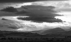 Early Morning Light (oliemackeral) Tags: cool clouds mountains roadstop montana bw blackandwhite freshair morning dawn