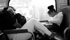 The Metra - Saturday Morning (draketoulouse) Tags: chicago train metra women street streetphotography blackandwhite monochrome contrast sleep friend