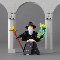 Maeterlinck the Legomancer (hensonphile) Tags: wizard staff lego figure arch column magic legomancy ridiculousbelt robe beard moc wizardhat ghost