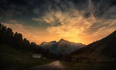 Road trip (Chrisnaton) Tags: switzerland splügen splügenpass mountains alps eveningmood eveningcolors eveningsky road nature roadtrip