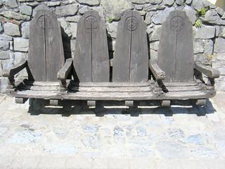 Seats outside Pembroke Castle, South Wales