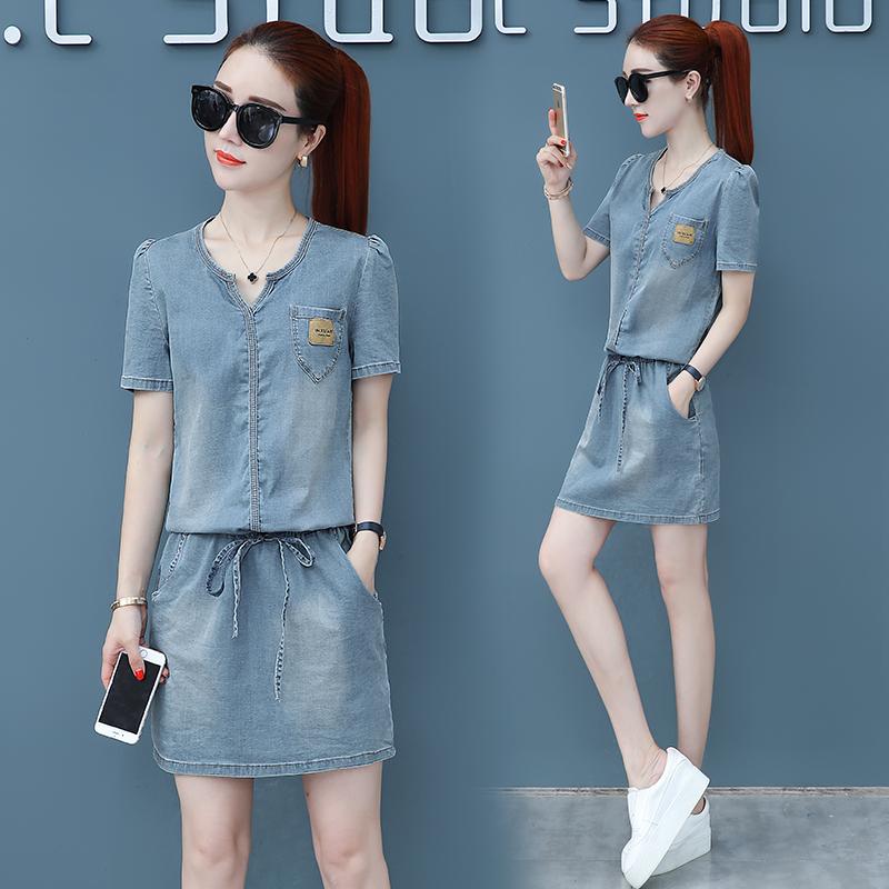 Dress, summer wear, 2018 new waist, Korean, small, fresh, thin, short skirt, women's dress, cowboy skirt tide.