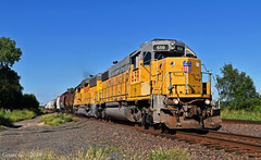 """Westbound Local in Bonner Springs, KS (""""Righteous"""" Grant G.) Tags: up union pacific railroad railway locomotive train trains west westbound local freight emd power jenks lettering letter kansas city"""